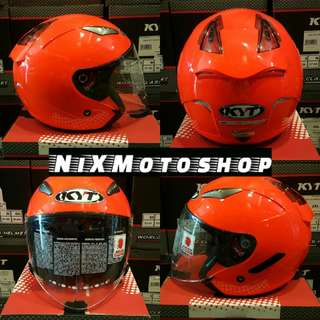 KYT Hellcat Plain Superfluo Red ( Single Visor )