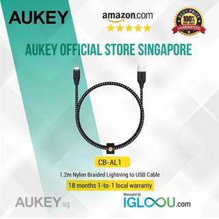 🚚 [CB-AL1] Aukey Braided Nylon MFI Lightning Cable 1.2 meter