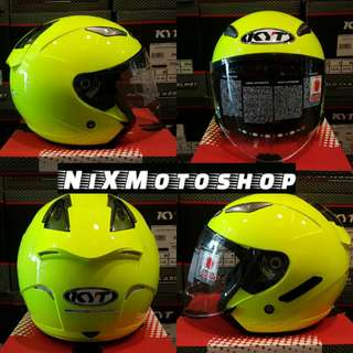 KYT Hellcat Plain Yellow Fluo ( Single Visor )