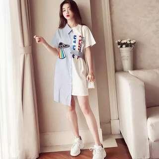 🚚 韓版氣質短袖襯衫不規則長版上衣T恤連身裙洋裝