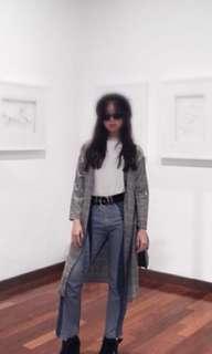 Grey plaid checkered coat blazer outerwear