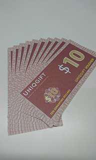 🚚 Uniqgift vouchers 10 x $10