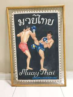 Hand Drawing Muay Thai Boxing Picture Vintage Frame