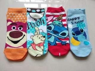 Disney lotso winnie the pooh stitch socks 迪士尼勞蘇 小熊維尼 史迪仔 純棉短襪