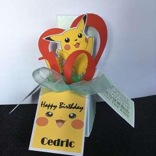 Pikachu birthday boxcard