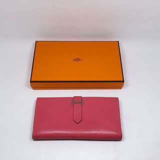 Hermes U5 Rose Lipstick Bearn Wallet 唇膏粉 銀包