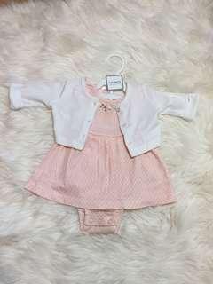 Original Carter's Baby Girl Romper Dress + Cardigan set 3M