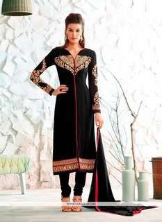 Black and gold georgett straight cut suit