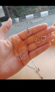 1 Set Perhiasan Wanita Cincin Anting Kalung Mewah Murah