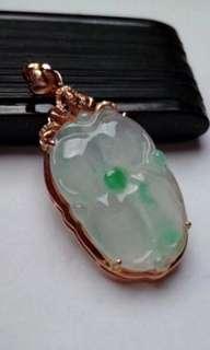 🍍18K Gold - Grade A 水润 Green Floral Lotus Leaf Jadeite Jade Pendant🍍