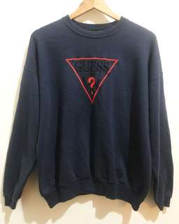 Vintage GUESS Embroidery Sweatshirt in Navy