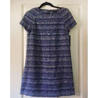 Zara classic jacquard weave blue dress office work casual cute