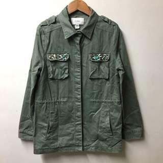 50% 串珠裝飾軍裝外套