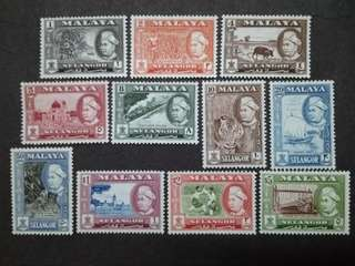 Malaysia Malaya 1957 Selangor 1st Scenes Complete Set  - 11v MLH Stamps