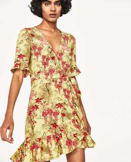 Yellow Floral Dress- Size Small