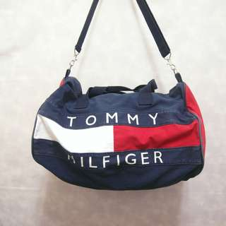 三件7折🎊 Tommy Hilfiger 旅行袋 側背包 肩背包 大包 經典配色 大logo 老品 極稀有 復古 古著 Vintage