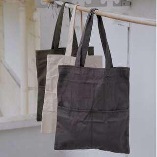 Double Pocket Tote Bags (Dark Grey; White; Olive)