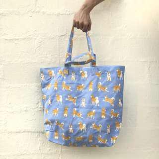 Shiba Dog (Blue) XL Canvas Tote