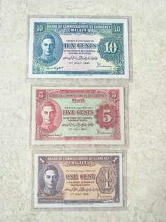 3 PCS 1941 MALAYA KING GEORGE VI 1, 5, 10 CENTS BANKNOTES AU-UNC