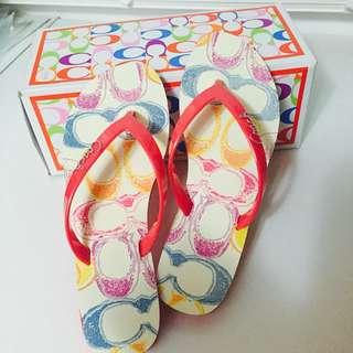 🚚 現貨 COACH  100%全新真品COACH品牌女款拖鞋 6號(24號)原價近兩千 便宜售1199 含鞋盒