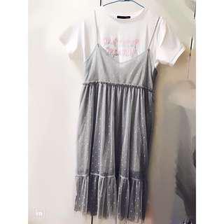 Heather 網紗點點細肩帶長洋裝 吊帶裙 日牌 兩件式網紗吊帶裙#換季五折
