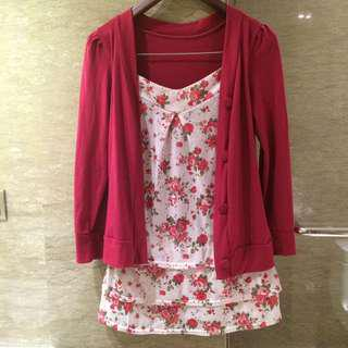 Maroon floral dress with outer (menyatu)