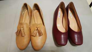 Flat Shoes (Red and Brown) 全新平底鞋 (祖紅色及啡色)