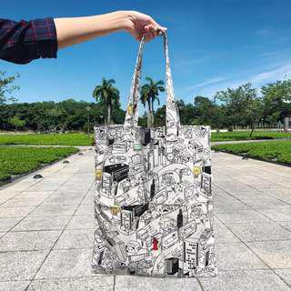 Printed Canvas Tote (Double Pocket)