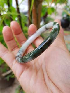 New Jadeite Jade Bangle Floating Flower