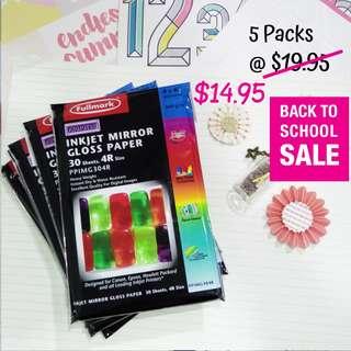 5 packs - Fullmark 4R Inkjet Mirror Gloss Paper (PPIMG304R)