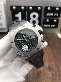 Audemars Piguet Royal Oak Offshore 26470ST Stainless Steel Gray Theme on Gray Leather Strap A3126