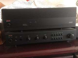 HiFi system: ADCOM pre amp n Amplifier, PMC DB1 pair of bookshelf speakers and Yamaha Natural Sound CD Player bundle
