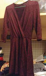 Mango one piece dress (wine-red)