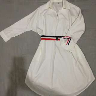 White shirt dress free belt
