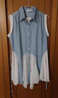 🚚 全新 含吊牌 藍色單寧拼接雪紡背心洋裝