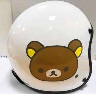 🚚 正版授權 SAN-X RILAKKUMA 拉拉熊 騎士帽 半罩式卡通淑女帽 半罩安全帽