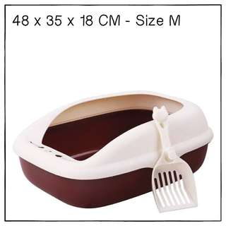 """""""Brown"""" Cat Litter Box (M) with Anti-spill Shield and Scoop"""