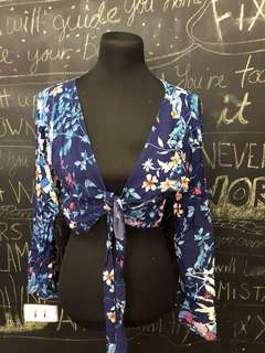 Blue Floral Tie Knot Cover-up