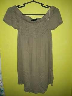 Forever21 Moss Green Off-shoulder dress