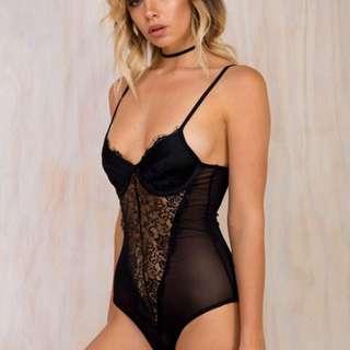 Dark romance lace black bodysuit new