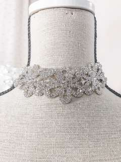 Bella rhinestone choker very glamourous shiny necklace • formal prom ball evening glam jewelry