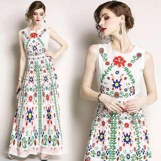 DP501 Nova Flora Print Maxi Dress
