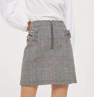 TOPSHOP PETITE Checked Buckle Pelmet Skirt