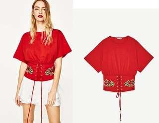 🚚 parisfrank~~品牌ZARA 腰部刺繡 假腰封 腰顯瘦 橘紅色T恤(S號)