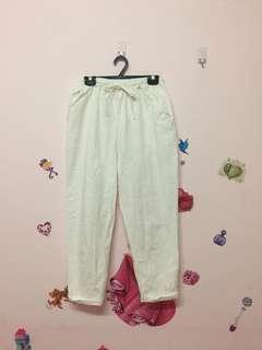 🚚 白色鬆緊哈倫褲