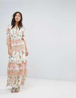 🚚 Maxi Floral Ruffle Dress