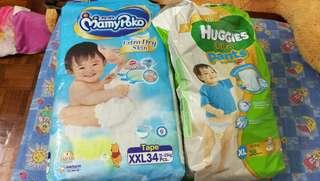 Mamy poko extra dry tape XXL diaper n huggies ultra pants XL