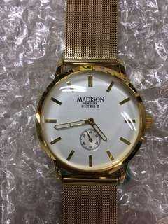 MADISON MEW YORK RETRO I gold quartz 38mm sample watch Milanese mesh strap DW 文青錶