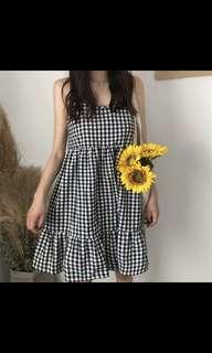 PREORDER Straps Plaids Pleated Mini Dress
