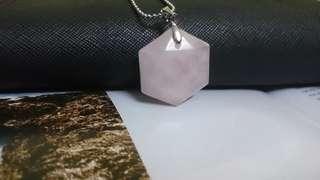 Pink Quartz Natural Crystal Pendant